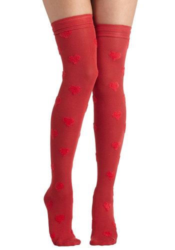 Betsey Johnson Warm, Fuzzy Feelings Socks in Red by Betsey Johnson - Red, Better, Fall, Winter, Novelty Print, Knit, Variation, Valentine's