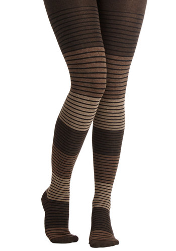 Shades of Graphite Tights in Sand - Stripes, Fall, Winter, Better, Brown, Tan / Cream, Black, Casual, Variation, Knit