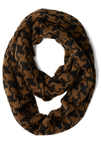 Data Darling Scarf by Wooden Ships - Brown, Trim, Fall, Winter, Knit, Tan / Cream, Houndstooth, Casual