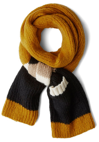 Fall for Autumn Scarf by Wooden Ships - Black, Yellow, Tan / Cream, White, Stripes, Fall, Winter, Knit, Knitted, Pockets