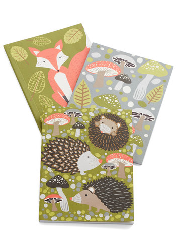 Chronicled Critters Notebook Set - Multi, Quirky, Good, Green, Grey, Print with Animals, Mushrooms, Scholastic/Collegiate