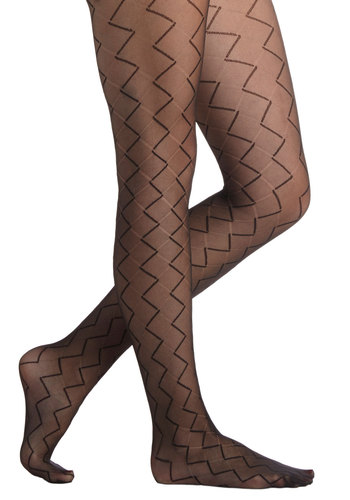 Geometric Marvel Tights by Tabbisocks - Black, Chevron, Sheer, Better, Knit, Boudoir