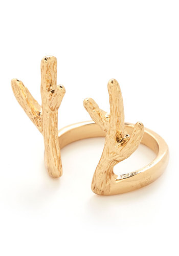 Antler to Your Questions Ring - Print with Animals, Rustic, Good, Gold, Solid, Holiday