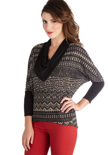 Lavish Language Top - Mid-length, Knit, Black, Tan / Cream, Print, Casual, 3/4 Sleeve, Cowl, Black, Long Sleeve
