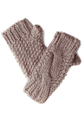 Snowy Salutations Glovettes - Grey, Solid, Knitted, Fall, Winter, Knit, Woven