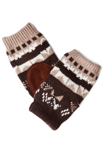 Stripe for the Picking Fingerless Gloves - Brown, Tan / Cream, Print, Fall, Winter, Knit, Good