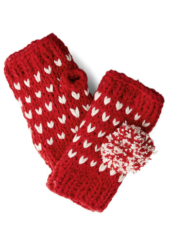 The Pom That I Want Glovettes in Red - Solid, Poms, Fall, Winter, Variation, Knit, Red, White, Knitted, Holiday