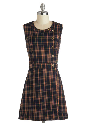 Astute Anthologist Dress by Miss Patina - Short, Woven, Blue, Brown, Plaid, Buttons, Casual, Scholastic/Collegiate, A-line, Sleeveless, Better, Scoop, Fall
