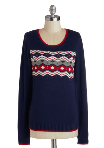 Vermont Jaunt Sweater - Blue, Red, Long Sleeve, Better, Mid-length, Knit, Grey, Print, Fall, Winter, Scoop, Blue, Long Sleeve, Holiday