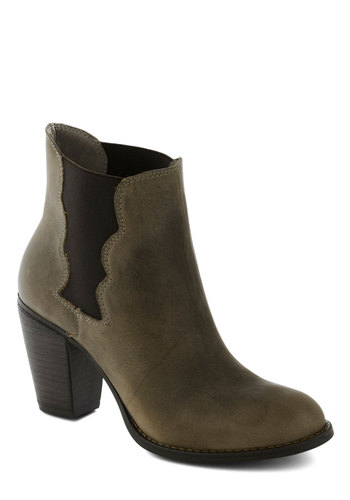 Betsey Johnson Formula for Frolicking Bootie by Betsey Johnson - Grey, Black, Solid, Scallops, Mid, Leather, Better, Minimal