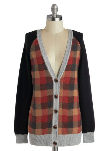 Clever Mind Cardigan - Checkered / Gingham, Long Sleeve, Better, Mid-length, Knit, Multi, Red, Tan / Cream, Black, Grey, Buttons, Rustic, Fall, V Neck, Menswear Inspired, Multi, Long Sleeve, Holiday
