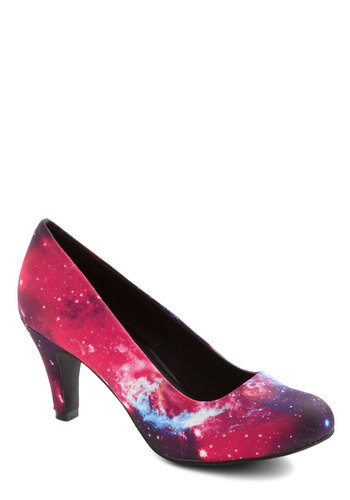 Galaxy After My Own Heart Heel - Multi, Print, Statement, Low, Better, Pink, Party, Girls Night Out, Quirky, Cosmic