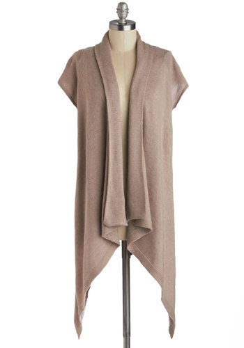 Free Sketch Cardigan in Oatmeal - Knit, Tan, Solid, Handkerchief, Casual, Short Sleeves, Variation, Long