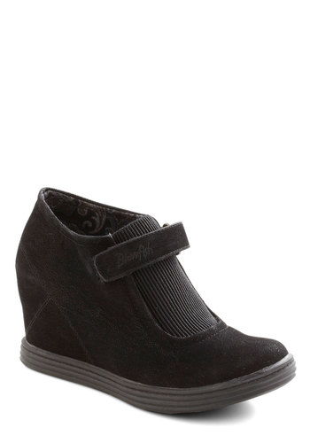 Secret Hideaway Wedge - Mid, Faux Leather, Black, Solid, Better, Platform, Wedge, 90s