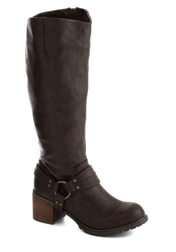 Trek Please Boot - Mid, Faux Leather, Brown, Solid, Better, Chunky heel