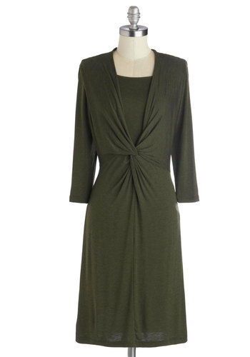 Citizen of Simplicity Dress - Mid-length, Jersey, Knit, Green, Solid, Work, Casual, Minimal, Sheath / Shift, Long Sleeve, Fall, Winter