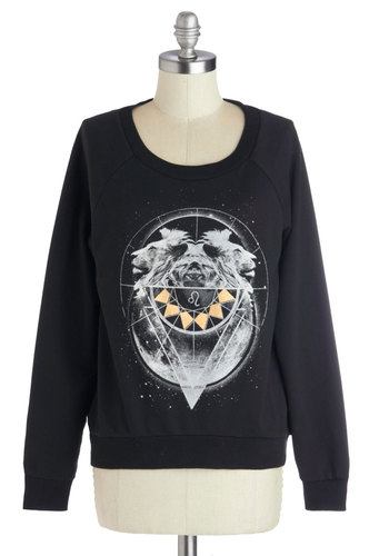 Just Lion Around Sweatshirt - Mid-length, Knit, Black, Yellow, White, Print with Animals, Cosmic, Long Sleeve, Good, Scoop, Casual, Sweatshirt, Black, Long Sleeve