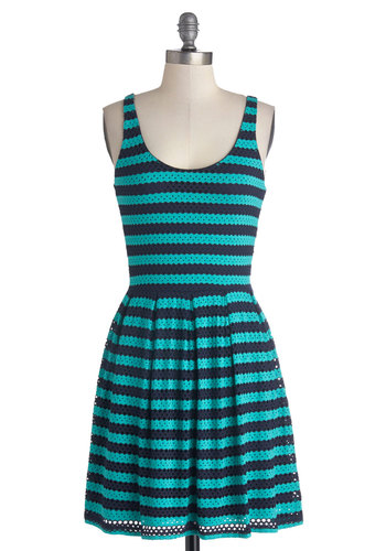 Decatur to Your Tastes Dress - Short, Knit, Blue, Stripes, Pleats, Casual, A-line, Tank top (2 thick straps), Better, Scoop, Cotton, Eyelet