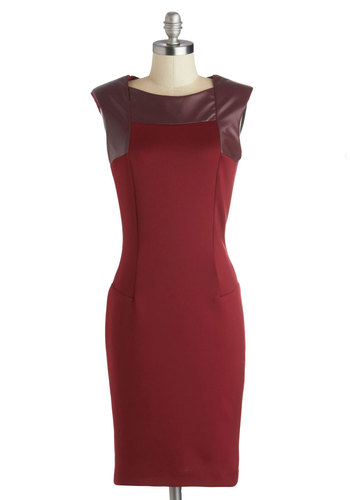 Remarkable Moment Dress - Mid-length, Faux Leather, Knit, Red, Solid, Party, Sheath / Shift, Sleeveless, Better, Cocktail