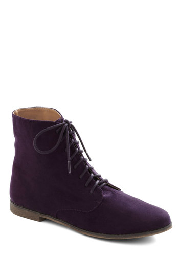 Twilight Walk Boot - Flat, Purple, Solid, Good, Lace Up, Casual, Faux Leather