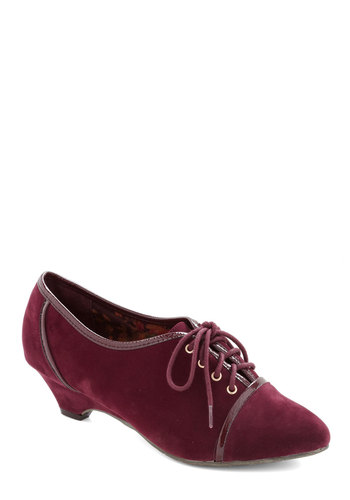 Raisin the Ante Heel by B.A.I.T. Footwear - Mid, Red, Trim, Better, Lace Up, Vintage Inspired, French / Victorian, Faux Leather, Fall