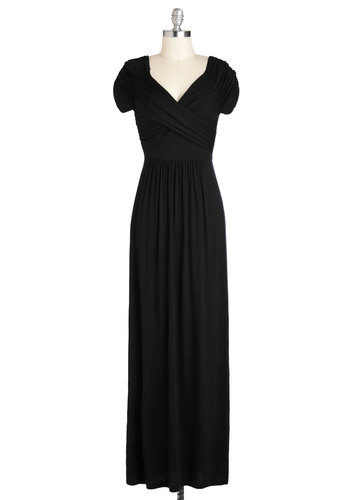 Ocean of Elegance Dress in Black - Black, Solid, Ruching, Casual, Maxi, Good, Sweetheart, Long, Jersey, Knit, Variation, Fall