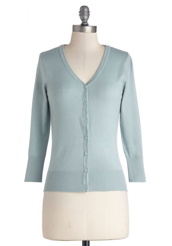 Charter School Cardigan in Aqua - Mid-length, Knit, Blue, Solid, Buttons, Pastel, Scholastic/Collegiate, Long Sleeve, Good, Variation, Work