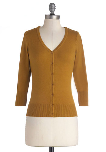 Charter School Cardigan in Gold - Short, Knit, Gold, Solid, Buttons, Work, Scholastic/Collegiate, Button Down, 3/4 Sleeve, Good, V Neck, Gifts Sale, Gold, 3/4 Sleeve