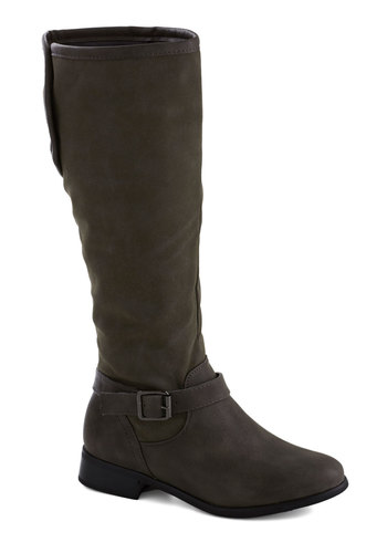 On the Up and Upcycle Boot - Low, Faux Leather, Grey, Solid, Buckles, Good