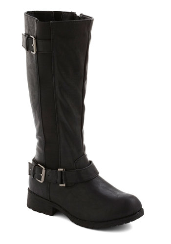 Kick Around Ideas Boot - Low, Faux Leather, Black, Solid, Buckles, Good, Casual, Urban