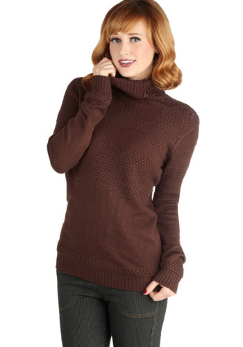 Turn Your Attention Sweater - Mid-length, Knit, Brown, Solid, Buttons, Casual, Long Sleeve, Fall, Winter, Brown, Long Sleeve