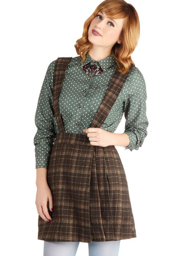 Varsity Love Letter Skirt by Miss Patina - Long, Brown, Plaid, Pleats, Casual, Scholastic/Collegiate, Fall, Woven, Menswear Inspired, Suspender, Brown