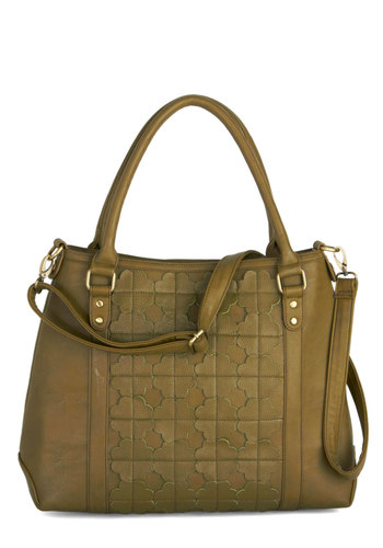 How Do You Bamboo? Bag by Darling - Green, International Designer, Faux Leather, Solid, Flower, Better, Work