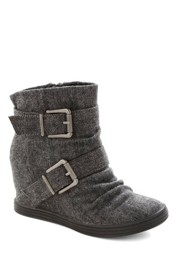 Roastery Visit Wedge in Grey - Grey, Herringbone, Buckles, Wedge, Mid, Better, Urban, Variation