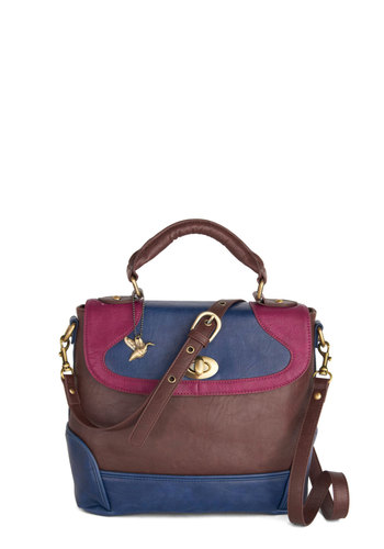 Set the Tri-Tone Bag by Ollie & Nic - Brown, Blue, Pink, Solid, Colorblocking, Better, International Designer, Work, Faux Leather