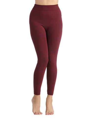 Warming Noon and Night Leggings in Wine - Red, Solid, Casual, Skinny, Knit, Variation, Basic, Fall, 90s