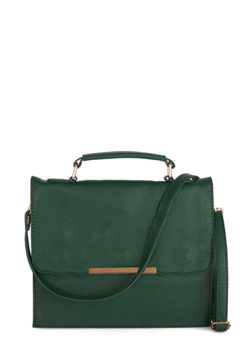 Lass with Class Bag - Faux Leather, Green, Gold, Solid, Vintage Inspired, 20s, Good, Work, Minimal