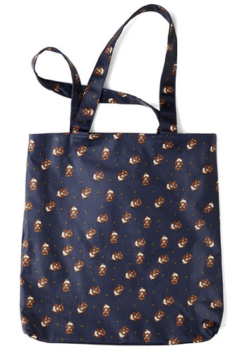 All Beak to Me Tote by Ollie & Nic - Blue, Brown, White, Print with Animals, Casual, Owls, Good, International Designer, Travel, Eco-Friendly, Halloween, Work