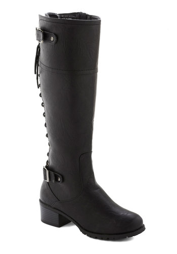 Library Etiquette Boot in Black - Black, Solid, Buckles, Steampunk, Good, Lace Up, Low, Faux Leather