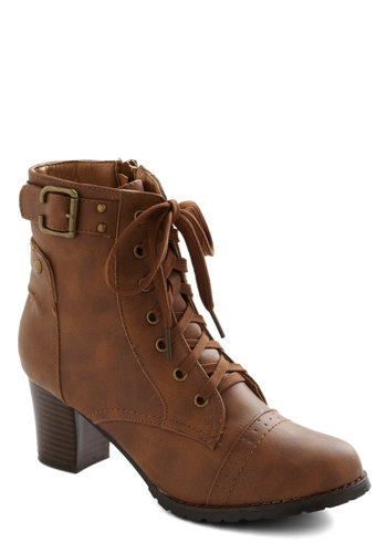Oaky Oasis Bootie - Mid, Faux Leather, Tan, Buckles, Steampunk, Good, Lace Up, French / Victorian, Fall