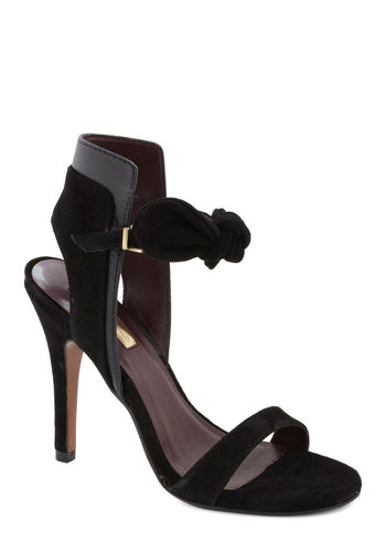 Noir You Free Tonight? Heel - Black, Solid, Bows, Party, Cocktail, Girls Night Out, High, Best, Leather, Suede