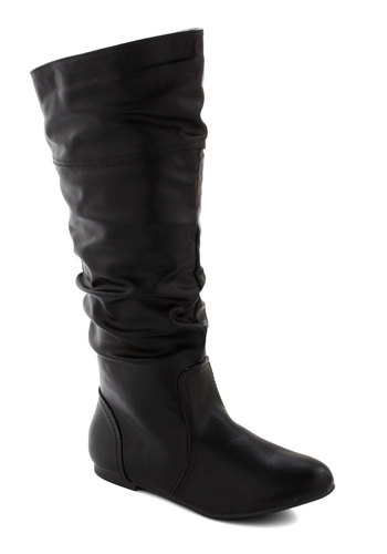 Theater in the Round Boot in Black - Flat, Faux Leather, Black, Solid, Good, Ruching, Fall