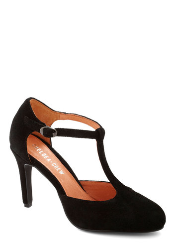 Skip, Jump, and Lindy Hop Heel by Chelsea Crew - Mid, Leather, Suede, Black, Solid, Work, Film Noir, Better, T-Strap, Party, Cocktail, Vintage Inspired, 40s