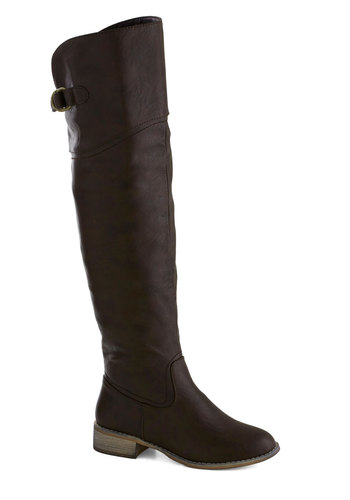Enjoyable Energy Boot in Molasses - Low, Brown, Solid, Buckles, Good, Minimal, Faux Leather