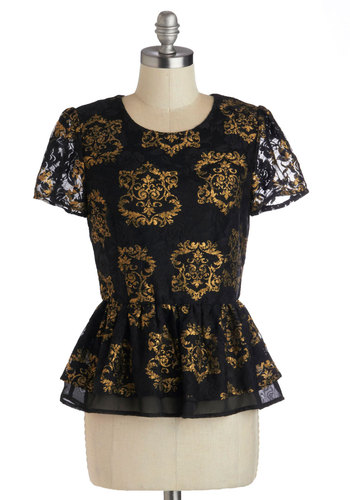 Manor of Speaking Top - Black, Gold, Holiday Party, Peplum, Cap Sleeves, Print, Party, Cocktail, French / Victorian, Sheer, Mid-length, Black, Short Sleeve