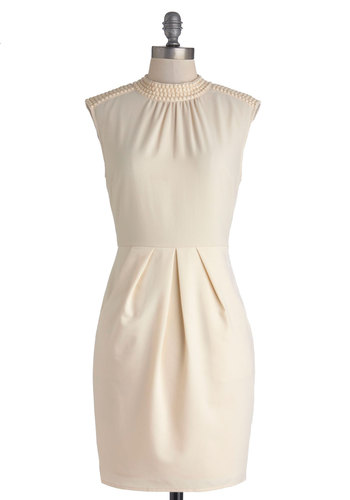 Glossary of Glamour Dress - Mid-length, Woven, Cream, Solid, Beads, Pockets, Party, Work, Cocktail, Sheath / Shift, Sleeveless