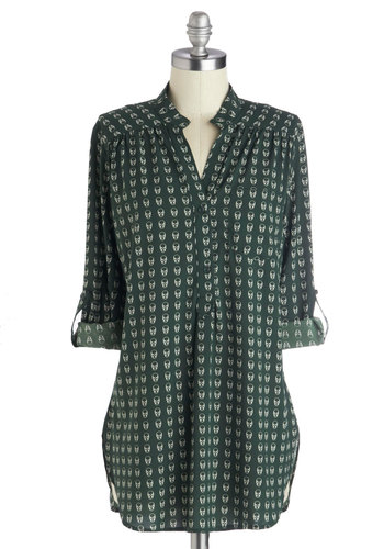 I Think You're Swell Tunic - Green, Buttons, Pockets, Long Sleeve, Good, Long, Skulls, Casual, Print, Work, Collared, Green, Tab Sleeve, Gifts Sale