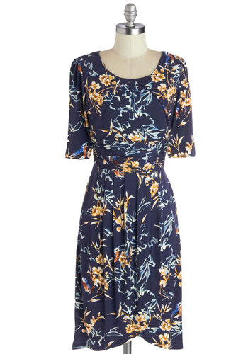 While You Were Tweeting Dress in Birds - Blue, Multi, Floral, Ruching, Casual, A-line, Short Sleeves, Good, Scoop, Jersey, Knit, Mid-length, Pleats