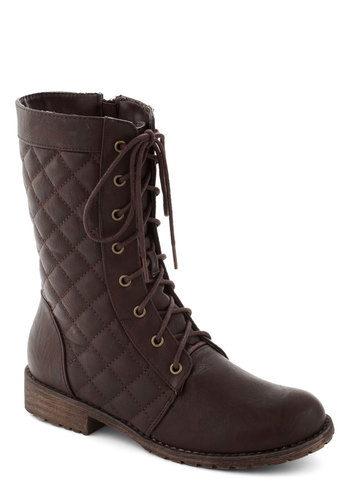Frontier and Center Boot - Brown, Solid, Quilted, Low, Good, Lace Up, Faux Leather, Casual, Military
