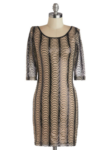 Luxe Flux Dress - Sequins, Party, Holiday Party, 3/4 Sleeve, Good, Scoop, Mid-length, Sheer, Knit, Tan / Cream, Black, Backless, Cocktail, Vintage Inspired, 20s, Mini, Bodycon / Bandage